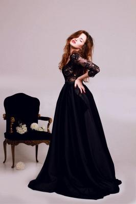 Elegant Black Lace Appliques V-neck Evening Dress UK 3/4-Length Sleeve A-line_3