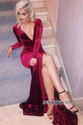 Long-Sleeves Deep-V-Neck Velvet Elegant Side-Slit Prom Dress UK qq0293_2