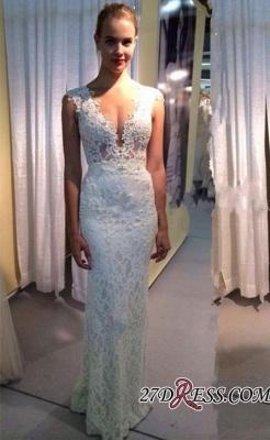 Sleeveless Lace Long Modest Zipper V-neck Wedding Dress_2