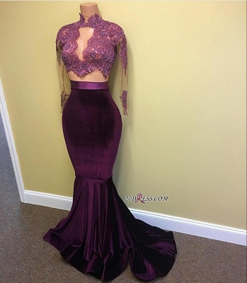 Mermaid Long-Sleeve High-Neck Lace-Appliques Modest Prom Dress UK CE0072_1