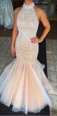 Gorgeous High-Neck Beadings Prom Dress UKes UK Mermaid Zipper Back Floor Length_1