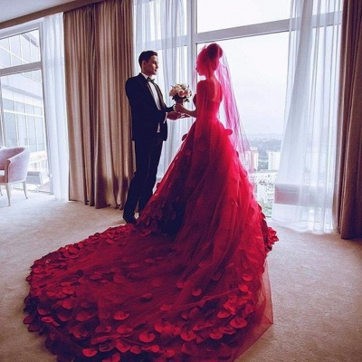 Newest Red Tulle Princess Wedding Dress Flowers Court Train_4