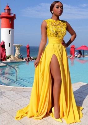 Elegant Illusion Sleeveless Chiffon Prom Dress UK With Front Split BK0_1
