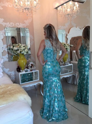 Sexy Sleeveless Lace Pearls Prom Dress UKes UK Mermaid Long Party gown BT0_5