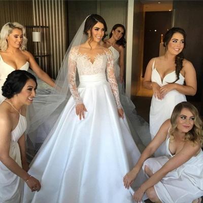Delicate Lace Appliques Princess Wedding Dress Long Sleeve_3