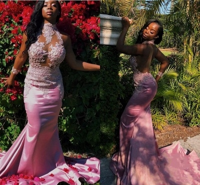 Pink High-Neck Prom Dress UK | Mermaid Lace Evening Gowns_3