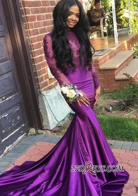 Mermaid Long-Sleeve Purple Lace Wedding Dress UK_2