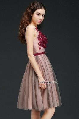 Burgundy-Flowers Romantic V-Neck Sash Open-Back A-line Homecoming Dress UKes UK_4