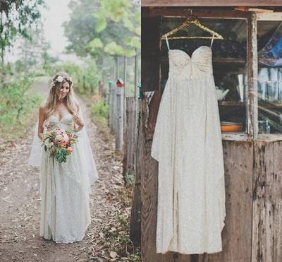 Elegant Spaghetti Strap Sleeveless Wedding Dress Floor-length Sequins_4