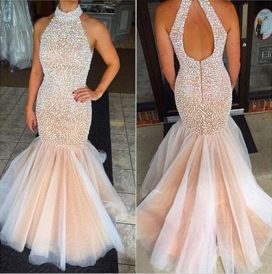 Gorgeous High-Neck Beadings Prom Dress UKes UK Mermaid Zipper Back Floor Length_3