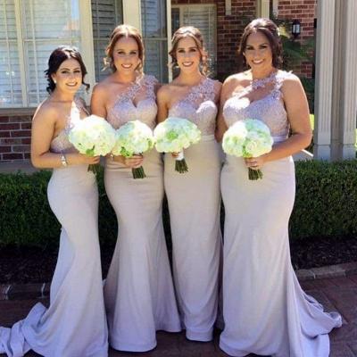 Sexy One Shoulder Lace Bridesmaid Dress UK Long Wedding Reception Dress UK_4