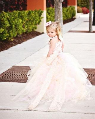 Lovely Sleeveless Tulle Flower Girl Dress With Long Train And Flowers_2
