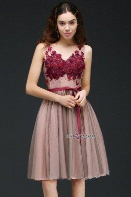 Burgundy-Flowers Romantic V-Neck Sash Open-Back A-line Homecoming Dress UKes UK_6