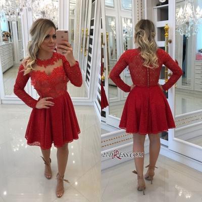 Red lace short prom Dress UK, long sleeve homecomng Dress UK BA8896_2