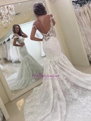 White Mermaid Off-the-shoulder Lace Modern Wedding Dress_1