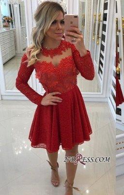 Red lace short prom Dress UK, long sleeve homecomng Dress UK BA8896_1