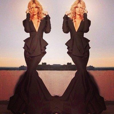 Elegant Black Long Sleeve Evening Dress UKes UK Mermaid V-Neck_2