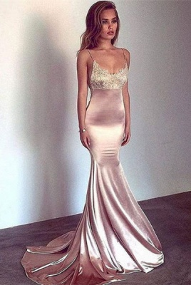 Sexy Spaghetti-Straps Mermaid Prom Dress UK Long With Lace_1
