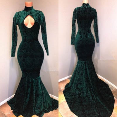 Green lace prom Dress UK, mermaid evening gowns_2