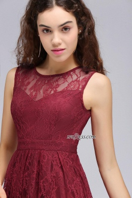 Burgundy Illusion Sleeveless A-line Lace Newest Homecoming Dress UK_3
