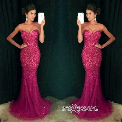 Long Sparkly Sequins Mermaid Crystals Sexy Sweetheart Prom Dress UK_1