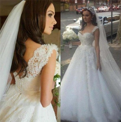 Delicate Lace Appliques Tulle Wedding Dress Button Zipper Back Straps Sleeveless_3