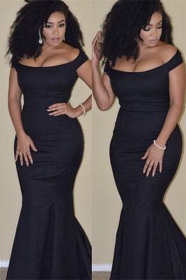 Elegant Black Mermaid Prom Dress UK Plus Size Off-the-shoulder BA3784_1
