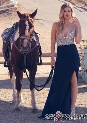 Long V-neck A-line Crystal Split Sleeveless Elegant Prom Dress UK_2