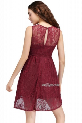 Burgundy Illusion Sleeveless A-line Lace Newest Homecoming Dress UK_4