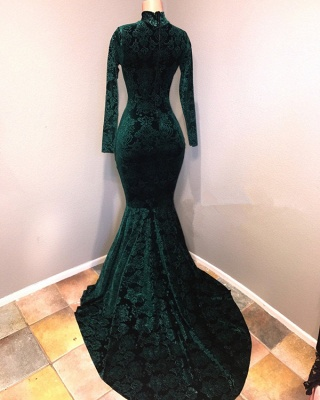 Green lace prom Dress UK, mermaid evening gowns_3