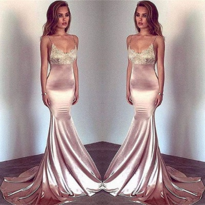 Sexy Spaghetti-Straps Mermaid Prom Dress UK Long With Lace_3