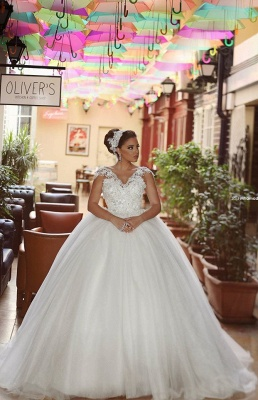 Delicate Tulle Lace Flowers Wedding Dress Ball Gown Cap Sleeve Plus Size_1