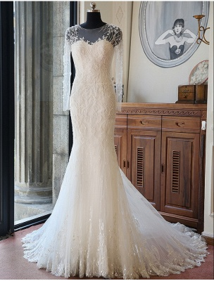 Stunning Long Sleeve Lace Wedding Dresses UK Sexy Mermaid With Train_4