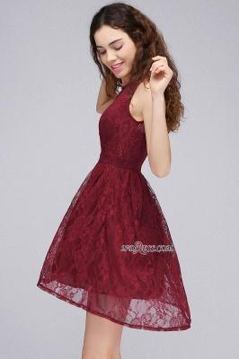 Burgundy Illusion Sleeveless A-line Lace Newest Homecoming Dress UK_1