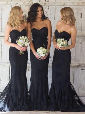 Sexy Black Sweetheart Mermaid Bridesmaid Dress UK Lace Wedding Reception Dress UK_6