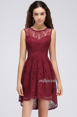 Burgundy Illusion Sleeveless A-line Lace Newest Homecoming Dress UK_5