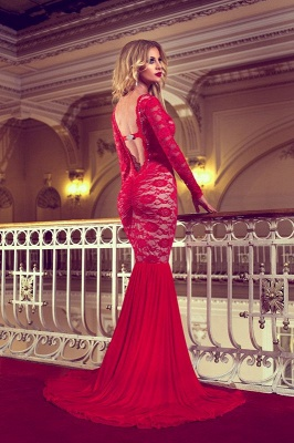 Elegant Red Long Sleeve Lace Prom Dress UKes UK Mermaid Long_3