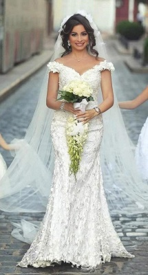 Gorgeous Off-the-Shoulder Wedding Dress Lace Appliques Sexy Mermaid Floor Length_1