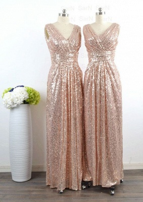 V-Neck Sequined Sheath Bridesmaids Dresses Ruffles Open Back Party Dresses_4
