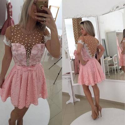 Elegant Short Sleeve Pink Cocktail Dress UK Lace Pearls BT0_2