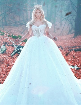 Elegant Off-the-shoulder Princess Wedding Dress Tulle Beads Sequins BA7469_1