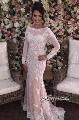 Mermaid Long-Sleeves Appliques Tulle Sexy Prom Dress UKes UK_3