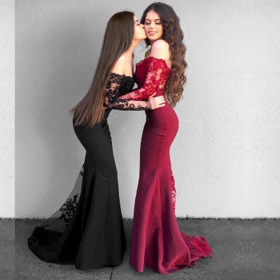 Delicate Lace Mermaid Long Sleeve Prom Dress UK | Off Shoulder Prom Dress UK BA9154_4