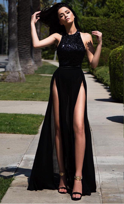 Elegant Black Sleeveless Sequins Prom Dress UK Long Chiffon Front Split BA3365_1