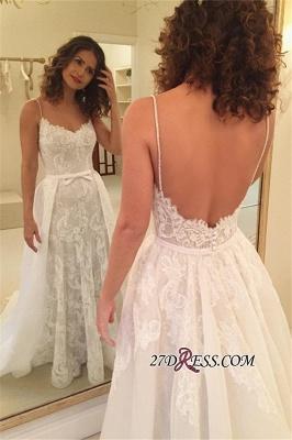 Backless  Sheath Spaghetti-Straps Appliques Wedding Dresses UK_3