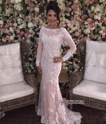 Mermaid Long-Sleeves Appliques Tulle Sexy Prom Dress UKes UK_2