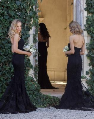 Sexy Black Sweetheart Mermaid Bridesmaid Dress UK Lace Wedding Reception Dress UK_1