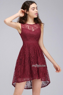 Burgundy Illusion Sleeveless A-line Lace Newest Homecoming Dress UK_6