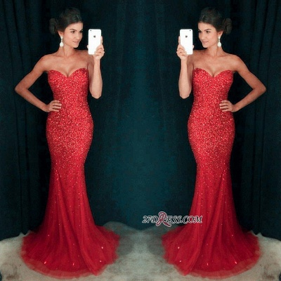 Long Sparkly Sequins Mermaid Crystals Sexy Sweetheart Prom Dress UK_4