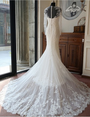 Stunning Long Sleeve Lace Wedding Dresses UK Sexy Mermaid With Train_3